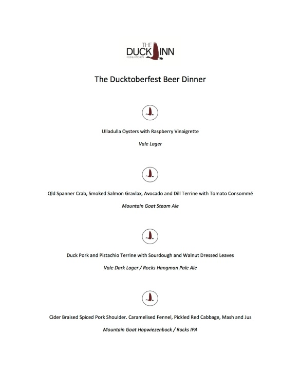 The Ducktoberfest Beer Dinner